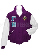 Gamma Eta Varsity Letterman Jacket with Greek Letters and Crest, Purple/White