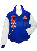 Gamma Kappa Phi Varsity Letterman Jacket with Greek Letters and Crest, Royal Blue/White