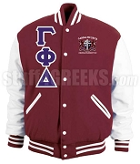 Gamma Phi Delta Varsity Letterman Jacket with Greek Letters and Crest, Maroon/White