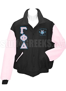Gamma Phi Delta Varsity Letterman Jacket with Greek Letters and Crest, Black/Pink