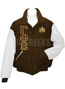Gamma Phi Omega Fraternity Varsity Letterman Jacket with Greek Letters and Crest, Brown/White