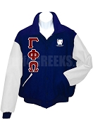 Gamma Phi Omega Sorority Varsity Letterman Jacket with Greek Letters and Crest, Navy Blue/White
