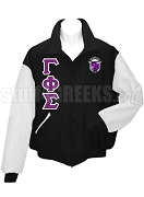 Gamma Phi Sigma Varsity Letterman Jacket with Greek Letters and Crest, Black/White