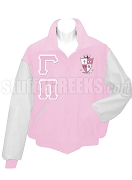 Gamma Pi Varsity Letterman Jacket with Greek Letters and Crest, Pink/White