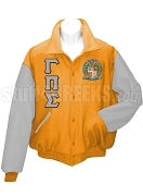 Gamma Pi Sigma Varsity Letterman Jacket with Greek Letters and Crest, Orange/Gray