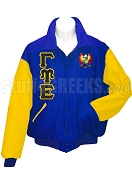 Gamma Psi Epsilon Varsity Letterman Jacket with Greek Letters and Crest, Royal Blue/Gold