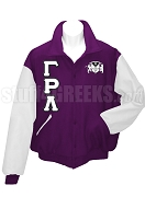Gamma Rho Lambda Varsity Letterman Jacket with Greek Letters and Crest, Purple/White