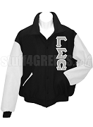 Gamma Sigma Omega Varsity Letterman Jacket with Greek Letters, Black/White