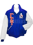 Gamma Sigma Tau Varsity Letterman Jacket with Greek Letters and Crest, Royal Blue/White