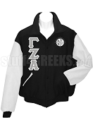 Gamma Zeta Alpha Varsity Letterman Jacket with Greek Letters and Crest, Black/White