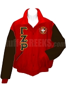 Gamma Zeta Rho Varsity Letterman Jacket with Greek Letters and Crest, Red/Black