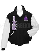 Iota Chi Kappa Varsity Letterman Jacket with Greek Letters and Crest, Black/White