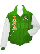 Iota Nu Delta Varsity Letterman Jacket with Greek Letters and Crest, Kelly Green/White