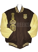 Iota Phi Theta Striped Varsity Letterman Jacket with Greek Letters and Crest, Brown/Tan