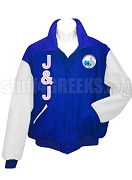Jack & Jill Varsity Letterman Jacket with Organization Letters and Crest, Royal Blue/White