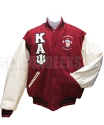 Kappa Alpha Psi Varsity Letterman Jacket with Greek Letters and Embellished Crest, Crimson/Cream