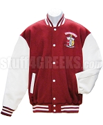 Kappa Alpha Psi Varsity Letterman Jacket with Organization Name and Crest, Crimson/White