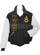 Kappa Alpha Theta Greek Letter Varsity Letterman Jacket with Crest, Black/White