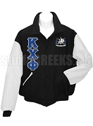 Kappa Chi Phi Varsity Letterman Jacket with Greek Letters and Crest, Black/White