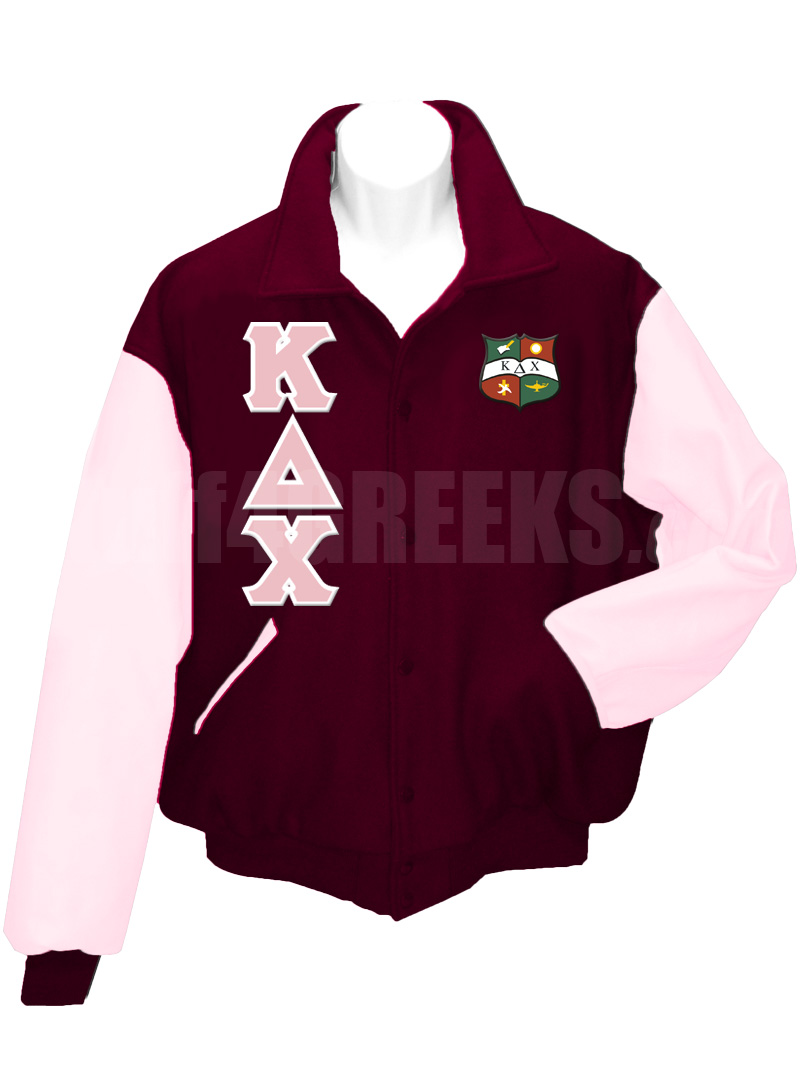 109df574db38e Kappa Delta Chi Greek Letter Varsity Letterman Jacket with Crest,  Maroon/Pink