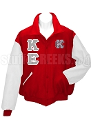 Kappa Epsilon Varsity Letterman Jacket with Greek Letters and Crest, Red/White