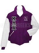 Kappa Lambda Chi Varsity Letterman Jacket with Greek Letters and Crest, Purple/White
