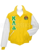 Kappa Lambda Delta  Varsity Letterman Jacket with Greek Letters and Crest, Gold/White