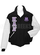 Kappa Lambda Xi  Varsity Letterman Jacket with Greek Letters and Crest, Black/White