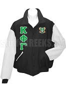 Kappa Phi Gamma Varsity Letterman Jacket with Greek Letters and Crest, Black/White