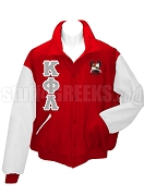 Kappa Phi Lambda Varsity Letterman Jacket with Greek Letters and Crest, Red/White