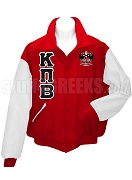 Kappa Pi Beta Varsity Letterman Jacket with Greek Letters and Crest, Red/White