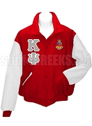 Kappa Psi Varsity Letterman Jacket with Greek Letters and Crest, Red/White