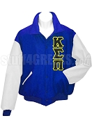 Kappa Sigma Pi Varsity Letterman Jacket with Greek Letters, Blue/White