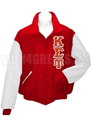Kappa Sigma Upsilon Varsity Letterman Jacket with Greek Letters, Red/White