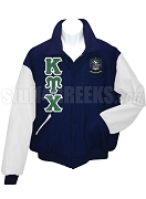 Kappa Upsilon Chi Varsity Letterman Jacket with Greek Letters and Crest, Navy Blue/White