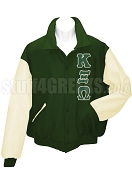 Kappa Xi Omega Varsity Letterman Jacket with Greek Letters, Forest Green/Cream