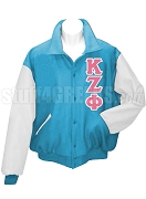 Kappa Zeta Phi Varsity Letterman Jacket with Greek Letters, Aqua Blue/White