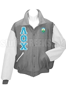Lambda Omicron Chi Varsity Letterman Jacket with Greek Letters and Crest, Gray/White