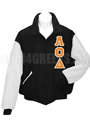 Lambda Omicron Delta Varsity Letterman Jacket with Greek Letters, Black/White