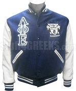 Lambda Phi Epsilon Varsity Letterman Jacket with Greek Letters and Crest, Navy Blue/White