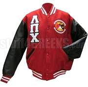 Lambda Pi Chi Varsity Letterman Jacket with Greek Letters and Crest, Red/Black