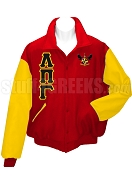 Lambda Pi Gamma Varsity Letterman Jacket with Greek Letters and Crest, Red/Gold