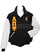 Lambda Pi Upsilon Varsity Letterman Jacket with Greek Letters and Crest, Black/White