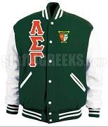 Lambda Sigma Gamma Varsity Letterman Jacket with Greek Letters and Crest, Hunter Green/White
