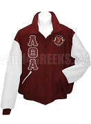 Lambda Theta Alpha Basic Greek Letter Varsity Letterman Jacket with Crest, Maroon/White