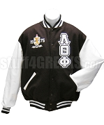 Lambda Theta Phi Triple Layer Greek Letter Varsity Letterman Jacket with Founding Year Crest, Brown/White