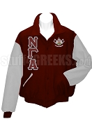 Nu Gamma Alpha Varsity Letterman Jacket with Greek Letters and Crest, Maroon/Gray
