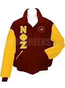 Nu Phi Zeta Varsity Letterman Jacket with Greek Letters and Crest, Red/Gold