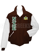 Nu Zeta Epsilon Varsity Letterman Jacket with Greek Letters and Crest, Brown/White