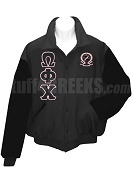 Omega Phi Chi Varsity Letterman Jacket with Greek Letters and Crest, Black/Black